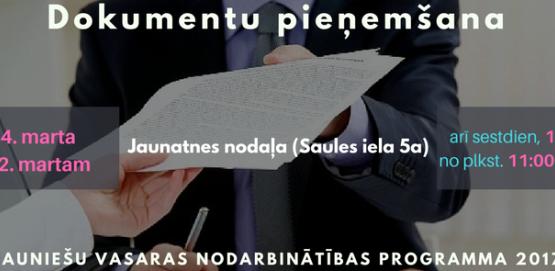 Sākas dokumentu pieņemšana vasaras nodarbinātības programmā 2017!