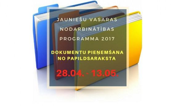 Sākas dokumentu pieņemšana no papildsaraksta vasaras nodarbinātības programmā 2017