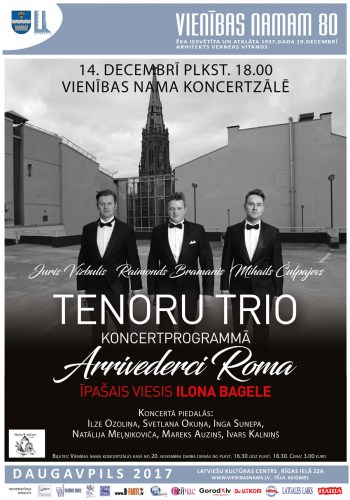 Tenoru Trio koncertprogrammā Arrivederci Roma
