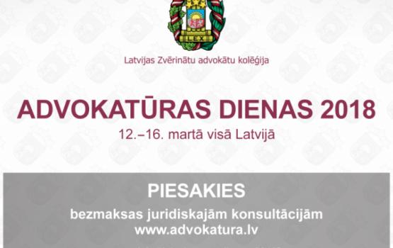 Iedzīvotājus aicina pieteikties bezmaksas konsultācijām advokatūras dienās