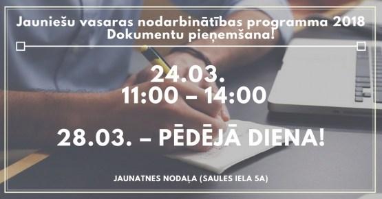 24.martā dokumentu pieņemšana vasaras nodarbinātības programmā