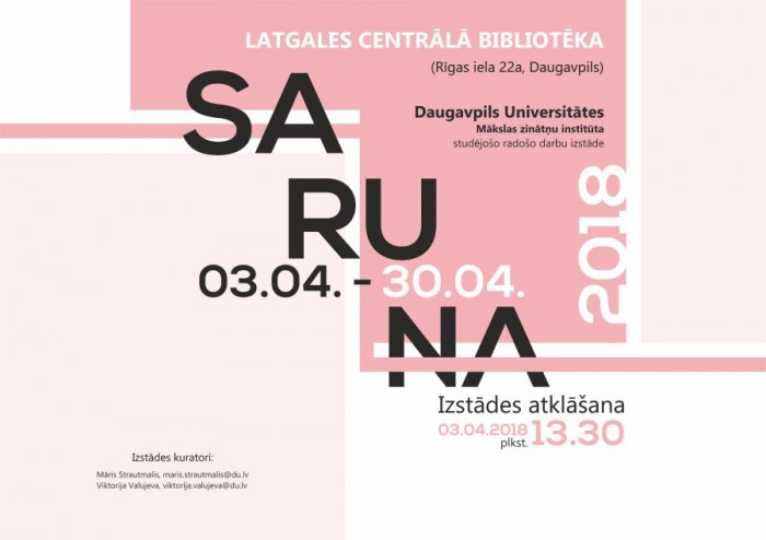 """Bibliotēkā būs skatāma Daugavpils Universitātes studentu darbu izstāde """"SARUNA"""""""