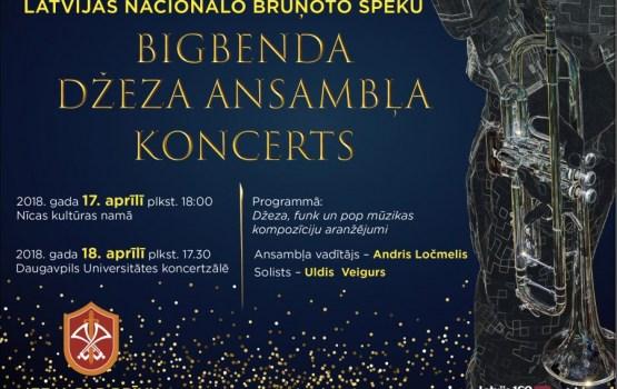 Bruņoto spēku bigbenda džeza ansamblis aicina uz koncertiem Nīcā un Daugavpilī