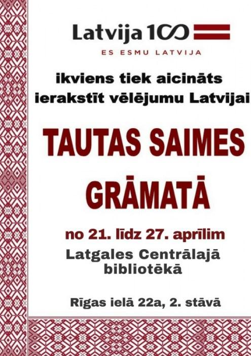 Latvijas valsts simtgadei veltītā Tautas Saimes grāmata bibliotēkā