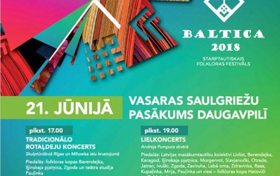 """Festivāla """"BALTICA 2018"""" dalībnieki vasaras saulgriežus svinēs Daugavpilī"""