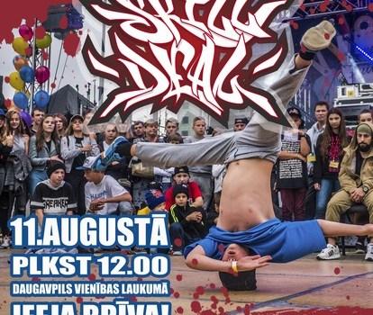 """11.augustā starptautiskais breika deju festivāls """"SKILL DEAL"""" Daugavpils Vienības laukumā"""